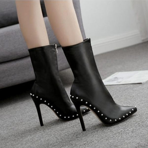 Winter Women Boots Rivet Decor High Heel Pure Color Pointed Toe