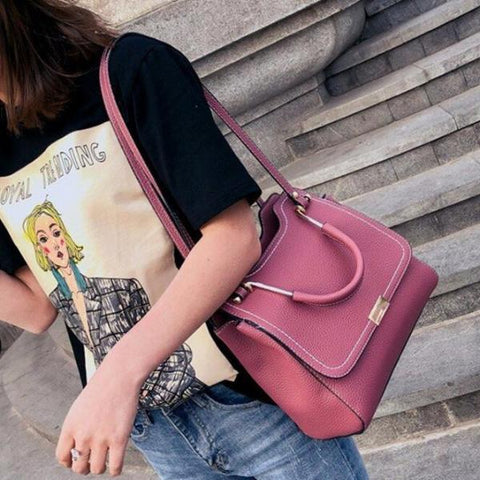 Fashion Women Shoulder Bag Zipper Closure Pure Color Large Capacity