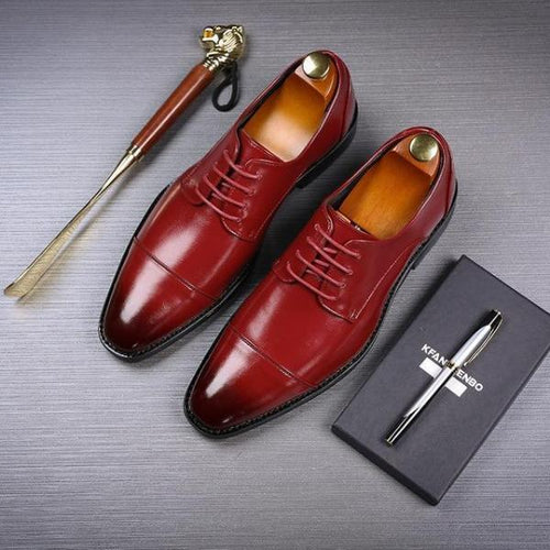 Business Men Leather Shoes Lace-Up Solid Color