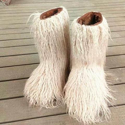 Furry Fur Flats Plush Winter Women Snow Boots