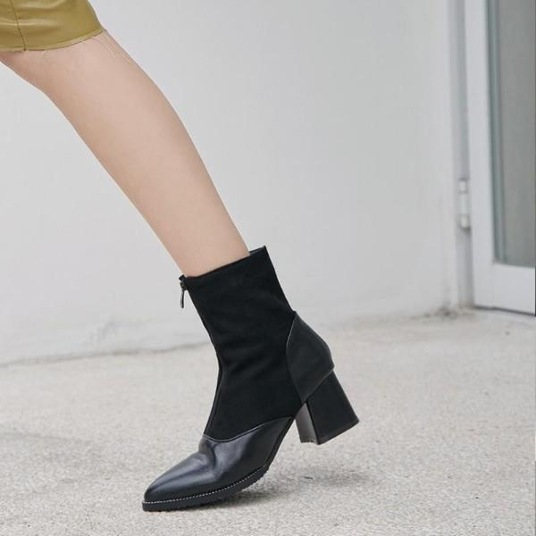 Autumn Winter Women Bootie Front Zipper Square High Heel Pointed Toe