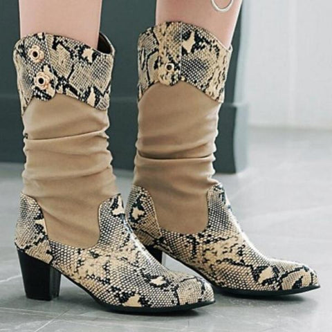 Female Mid-Calf Boots Snake Skin Pattern Square Heel