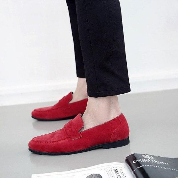 Casual Men Loafers Pointed Toe Solid Color Flat Heel