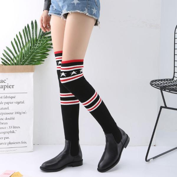 Autumn Winter Women Knitted Boot Stars And Stripes Pattern