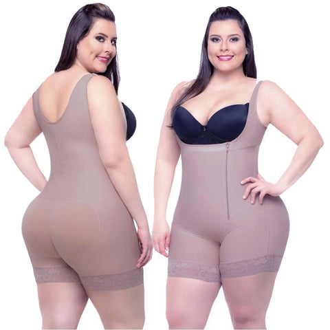Sensational 11 Steel Boned Latex Plus Shapewear Zipper Front Sleek Curves