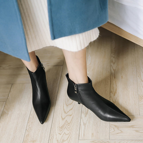 Med Heels Women Ankle Boots Zip Pointed Toe Cow Leather