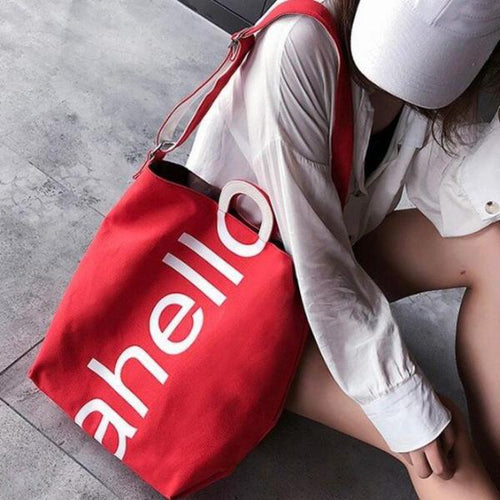 Casual Women Canvas Bag Letters Pattern Hasp Closure