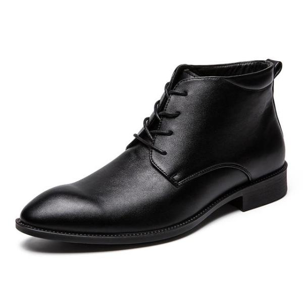 Loosesize Men Leather Bootie Pointed Toe
