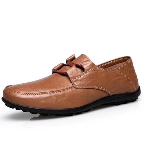 Big Size Casual Men Leather Shoes Round Toe Pure Color