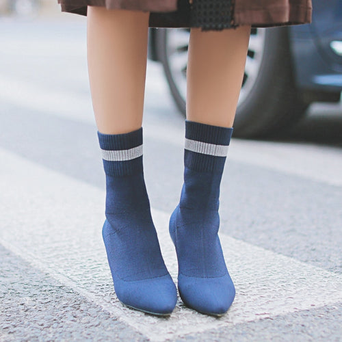 Handmade Knitting Women Sock Ankle Boots Pointed Toe Striped Slip On