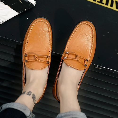 Genuine Leather Men Casual Shoes Moccasins Breathable Slip on