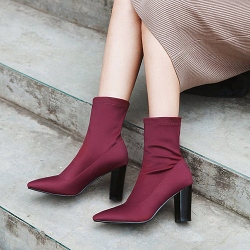 Stretch Fabric Women Sock Boots Pointed Toe Slip On Ankle