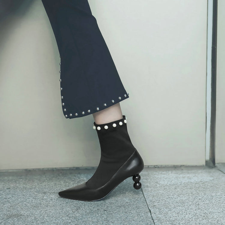 Ankle Sock Boots Pearl Pointed Toe High Heels Stretch