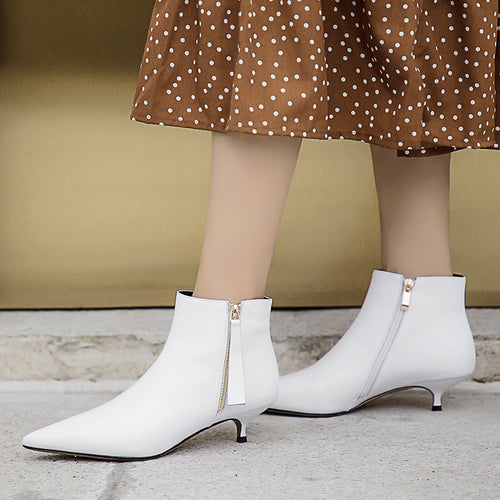New Ankle Boots Cow Leather Low Heels Women Dress Shoes
