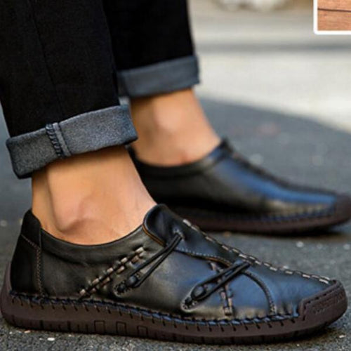 Vintage Style Men Loafer Round Toe Elastic Ropes