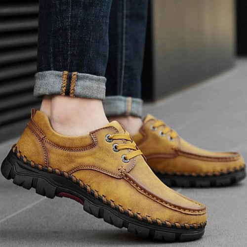 Casual Men Flat Shoes Lace-Up Round Toe Anti-Slip