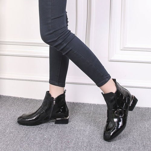 Women Shiny Ankle Boots Low Heel PU Leather
