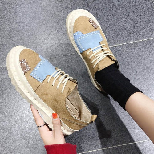 Women  Round Toe Spring Flock Patchwork Lace-up Cross-tied Shoes