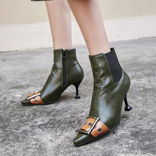 Belt Buckle Ankle Chelsea Boot Pointed Toe Leather