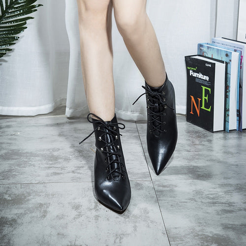 Microfiber Leather Rivet Ankle Boots Cat Heels Pointed Toe