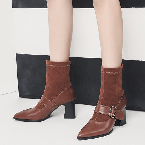 Fashion Suede Leather Sock Boots Block High Heel