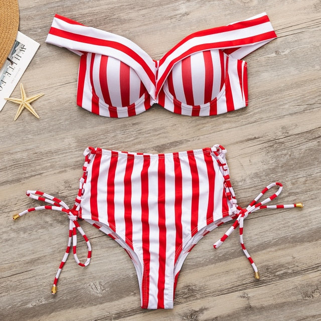 Striped Swimsuit Women High Waist Bikini Set