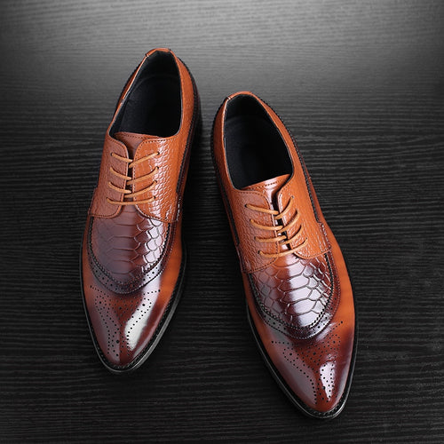 Mature Leather Shoes Business Pointed Toe Bullock Carved