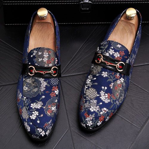 Loafers Flower Embroidery Slip On Leather Shoes