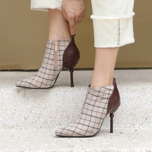 Elegant Ankle Boots Tweed Plaid Checked High Heels