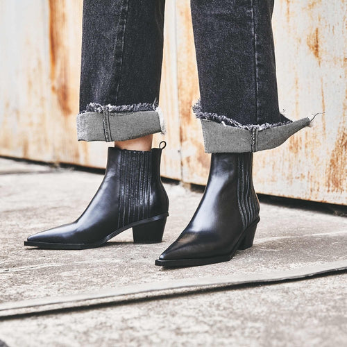 Full Grain Leather Ankle Chelsea Boots Med Heels Pointed Toe