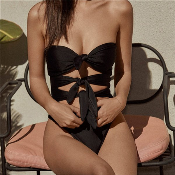 Sexy Retro Front Tie Polka Dot Off Shoulder Swimsuit