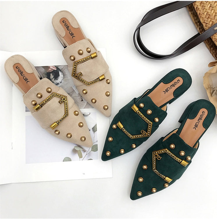 Women  Pointed Toe  Buckle House Shoes