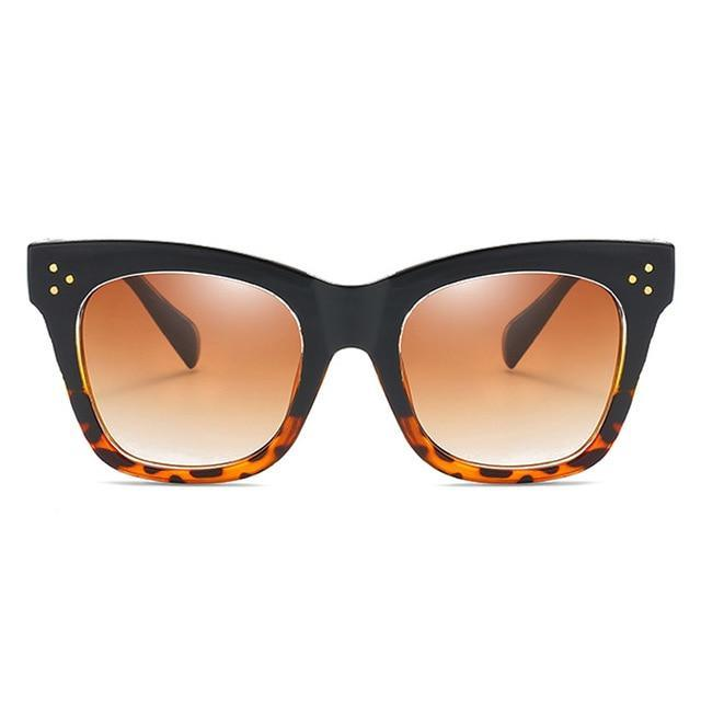 Oversized Square Rimmed Women Sunglasses Rivets