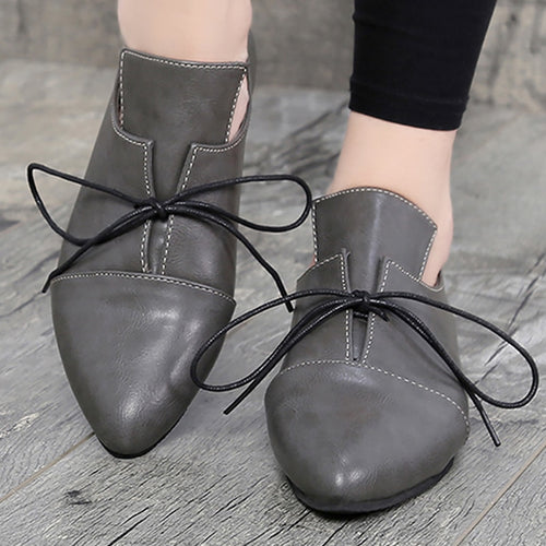 Women Lace-up Shallow Large Size  PU Leather Shoes