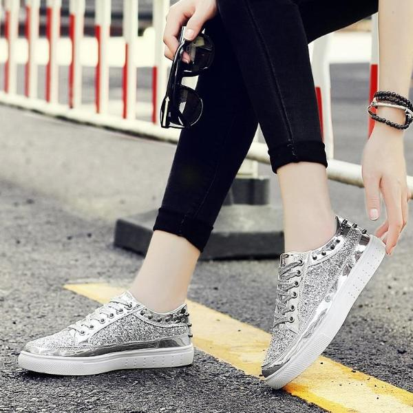 Casual Women Flat Bling Shoes Lace-Up Round Toe Sequins