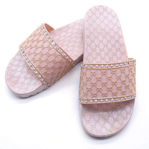 Outdoor Women Flat Slipper Geometric Pattern