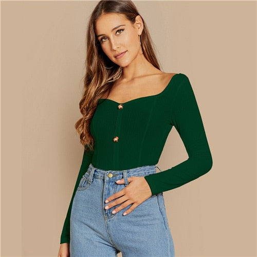 Form Fitting Female Crop Top Long Sleeves Buttons