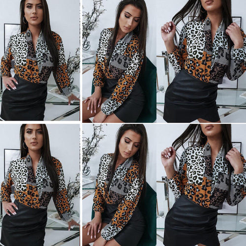 Womens Leopard Print Criss-cross V Neck Wrap Blouses Shirt