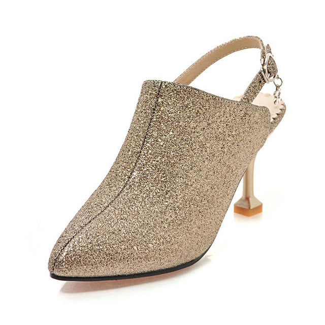 Plus Size Women Sequined Sandal Buckle Strap