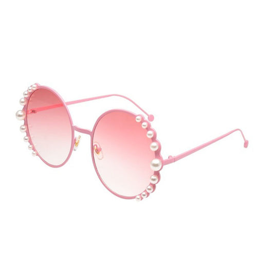 New Round Frame Pearl Sunglasses