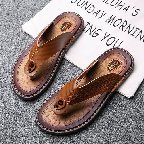 Fashion Casual Leather Flip Flops