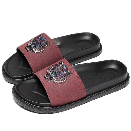 Fashion Men Comfortable  Leather Slippers
