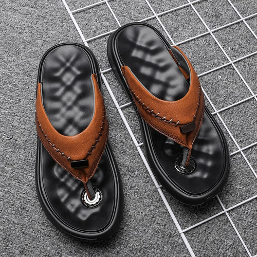 Men Big Size Fashion Summer Leather Slippers