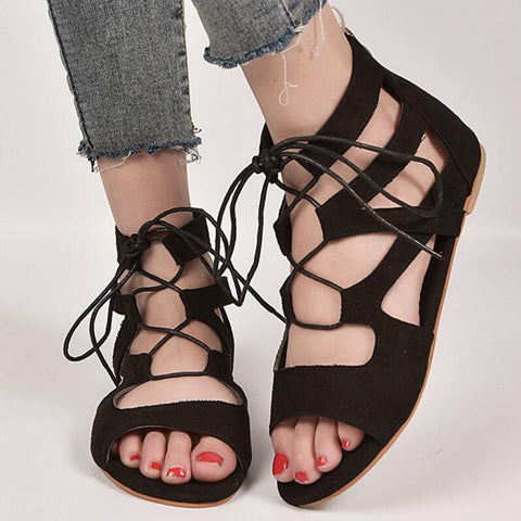 Women Black Gladiator Sandals