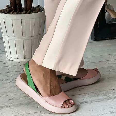 Women  Gladiator Peep Toe Slip On Platform Candy Sweet Shoes