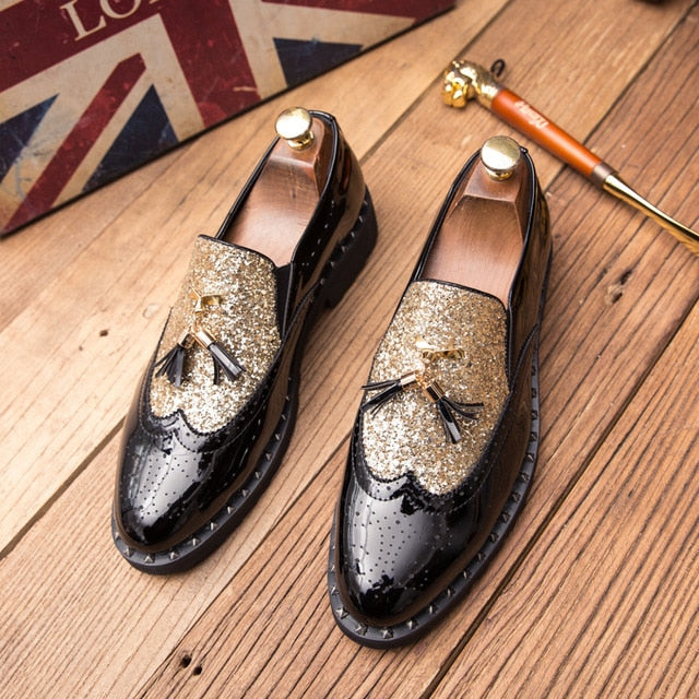 Fashion  Rivet Tassel Men Dress Shoes