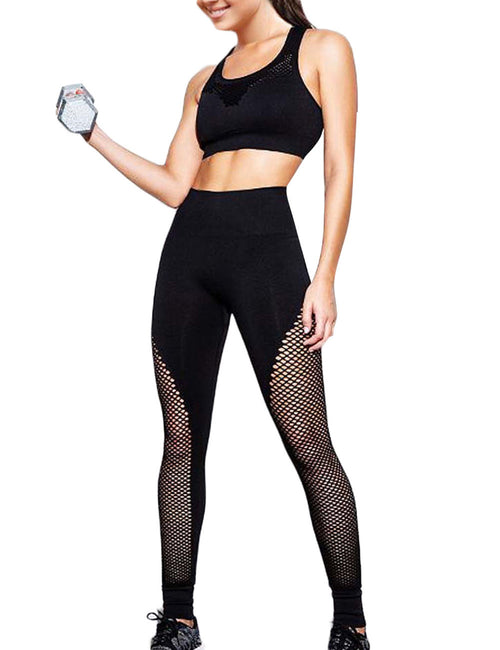 Quick Drying See Through Net Gym Leggings Casual Wear