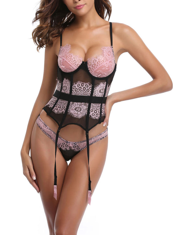 Ravishing Floral Lace Corset 8 Plastic Bones Matching Thong Plus Figure Shaping