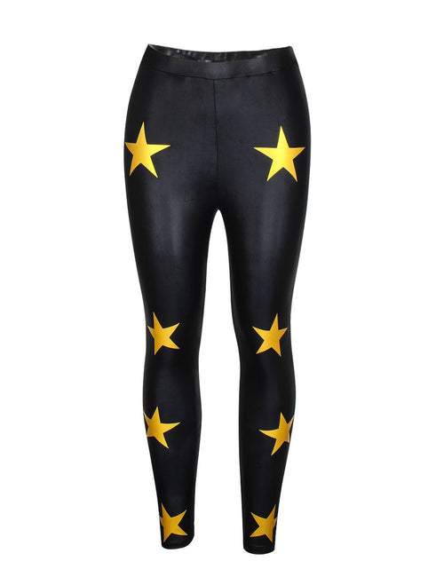 Refreshing Star Print Leather Tights Ankle Length Quick Drying