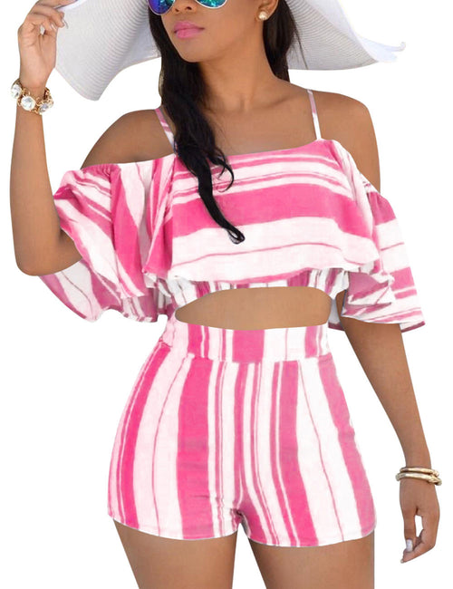 Relaxing Ruffles Crop Top With Bottom Mini Length Chic Trend